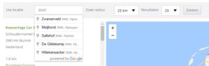 Zoeken op postcode in de Detailer Zoeker