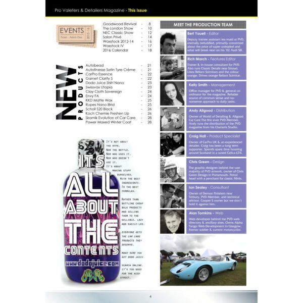 PRO Detailer Magazine - Nr. 2-2016 - Table of Content 2