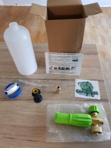 Inhoud van het pakket van de Dodo Juice Snowcommotion foamlans